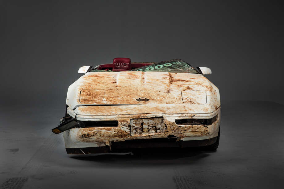 The 1 millionth Corvette produced – this white 1992 convertible – was damaged when it fell into a sinkhole that opened up beneath the National Corvette Museum, in Bowling Green, Ky., on Feb. 12, 2014. This image depicts the as-recovered state of the vehicle. Photo: GM / Mueller/Chevrolet