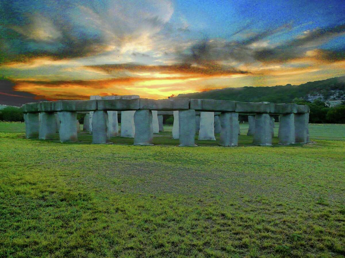 Stonehenge II was created as an art project by Al Shepperd and Doug Hill in Hunt. It was moved to the grounds of the Hill Country Arts Foundation in 2010.