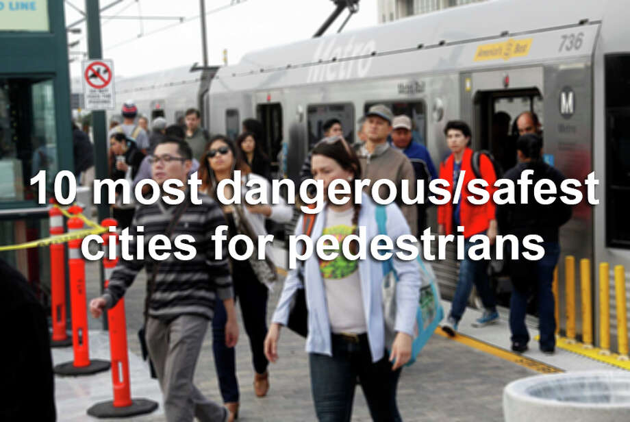 More than 4,700 pedestrians were killed by cars in the U.S. in 2012.The ranking, by pedestrian deaths per 100,000 residents, comes fromSmart Growth America.Here's a look at the 10 most dangerous cities for pedestrians in America, followed by the 10 safest. Photo: NICK UT, AP / AP