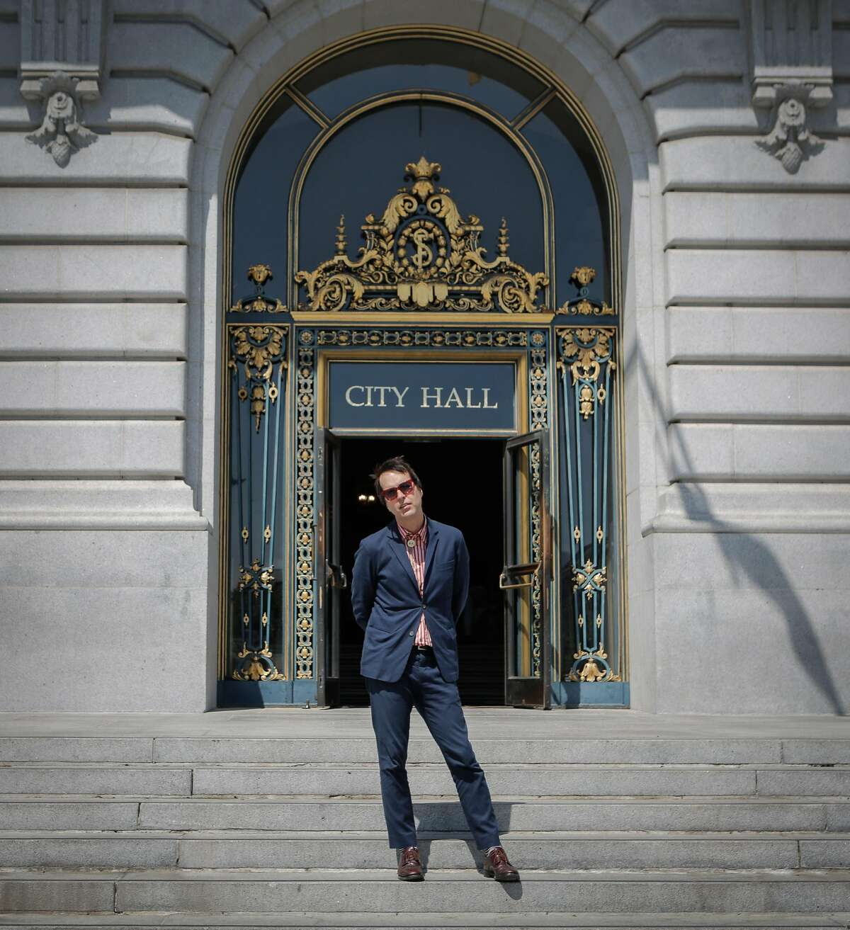 Musician Chuck Prophet poses for a portrait at City Hall in San Francisco, California, on Thursday, June 11, 2015. Prophet will be curating one of the stages at the San Francisco City Hall Centennial Celebration on June 19, 2015. Prophet is a San Francisco singer and songwriter.