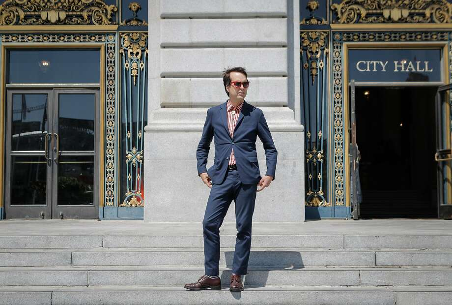 Musician Chuck Prophet poses for a portrait at City Hall in San Francisco, California, on Thursday, June 11, 2015. Prophet will be curating one of the stages at the San Francisco City Hall Centennial Celebration on June 19, 2015. Prophet is a San Francisco singer and songwriter. Photo: Loren Elliott, The Chronicle