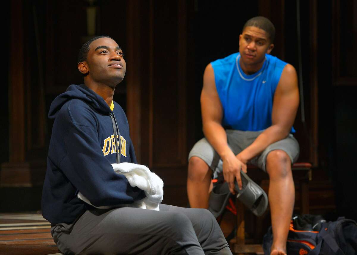 Choir Boy 3.jpg Choir leader Pharus (Jelani Alladin, left) talks to his roommate AJ (Jaysen Wright) in the ay Area premiere of Tarrell Alvin McCraney's