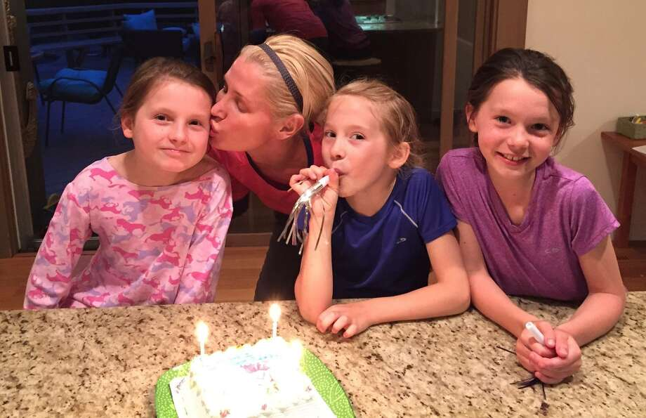 From left, Alina, Izabela, Ireland and Yvette O'Brien celebrate Yvette's ninth birthday in May. Photo: Contributed Photo