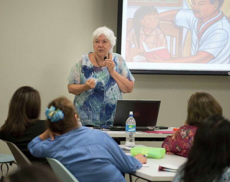 Alma Flor Ada speaks during a Pre-K 4 SA Summer Academies continuing education class, Tuesday, June 9, 2015, at Pre-K 4 SA North Center in San Antonio. (Darren Abate/For the Express-News) Photo: Darren Abate, FRE / Darren Abate/Express-News / Darren Abate Media, LLC