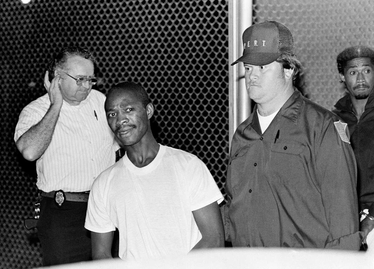 SNACK ATTACK - In 1984, six condemned killers broke out of the Mecklenburg Correctional Center in Virginia with an elaborate ruse involving a hostage, a fake bomb and stolen riot gear. All six were recaptured within three weeks. The first two were caught within a day. Derick Peterson and Earl Clanton Jr. (pictured) were drinking wine and eating cheese outside a coin-operated laundry when police took them into custody. Reporters asked Peterson how he let himself get captured.