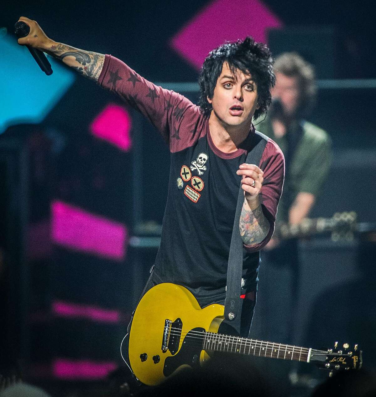 FILE - This Sept. 21, 2012 file photo shows Billie Joe Armstrong of Green Day on stage at the iHeart Radio Music Festival at the MGM Grand Arena in Las Vegas. Sting, Green Day, and Bill Withers are among the first-time nominees for the Rock and Roll Hall of Fame. (Photo by Eric Reed/Invision/AP, file)