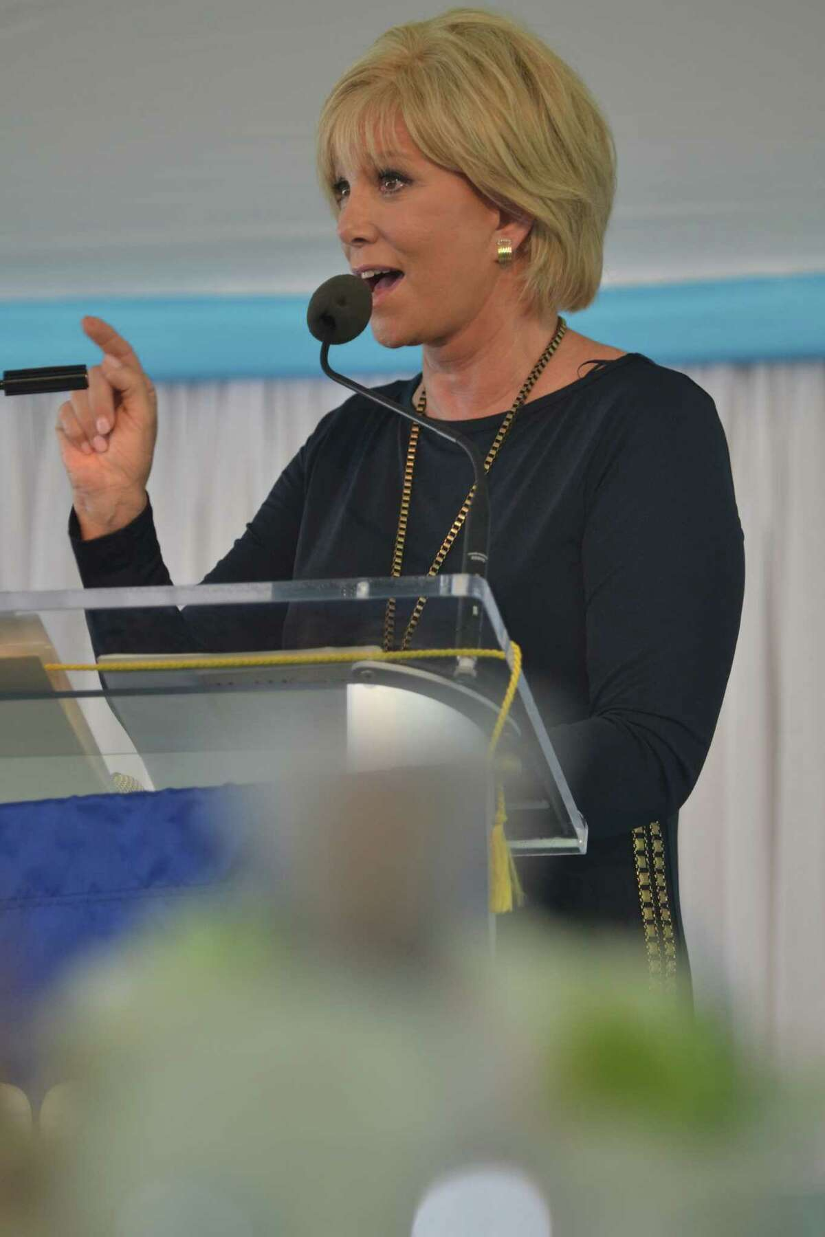 Joan Lunden, the keynote speaker, addresses the guests at the Rose of Hope Luncheon in Fairfield, Conn. Lunden is a breast cancer survivor, advocate and celebrity personality.