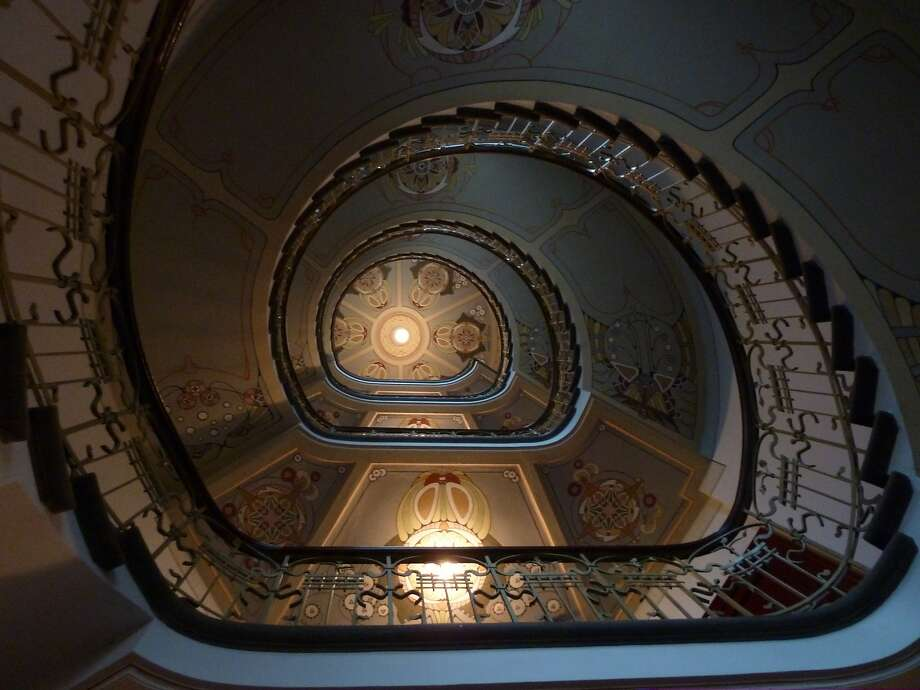 The spiral staircase at the Riga Art Nouveau Museum. Photo: Spud Hilton