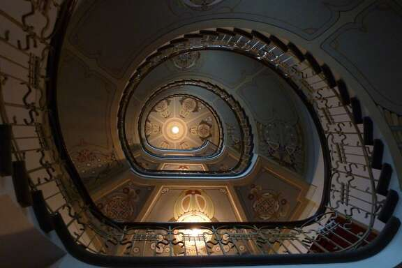 The spiral staircase at the Art Nouveau Museum in Riga, Latvia.