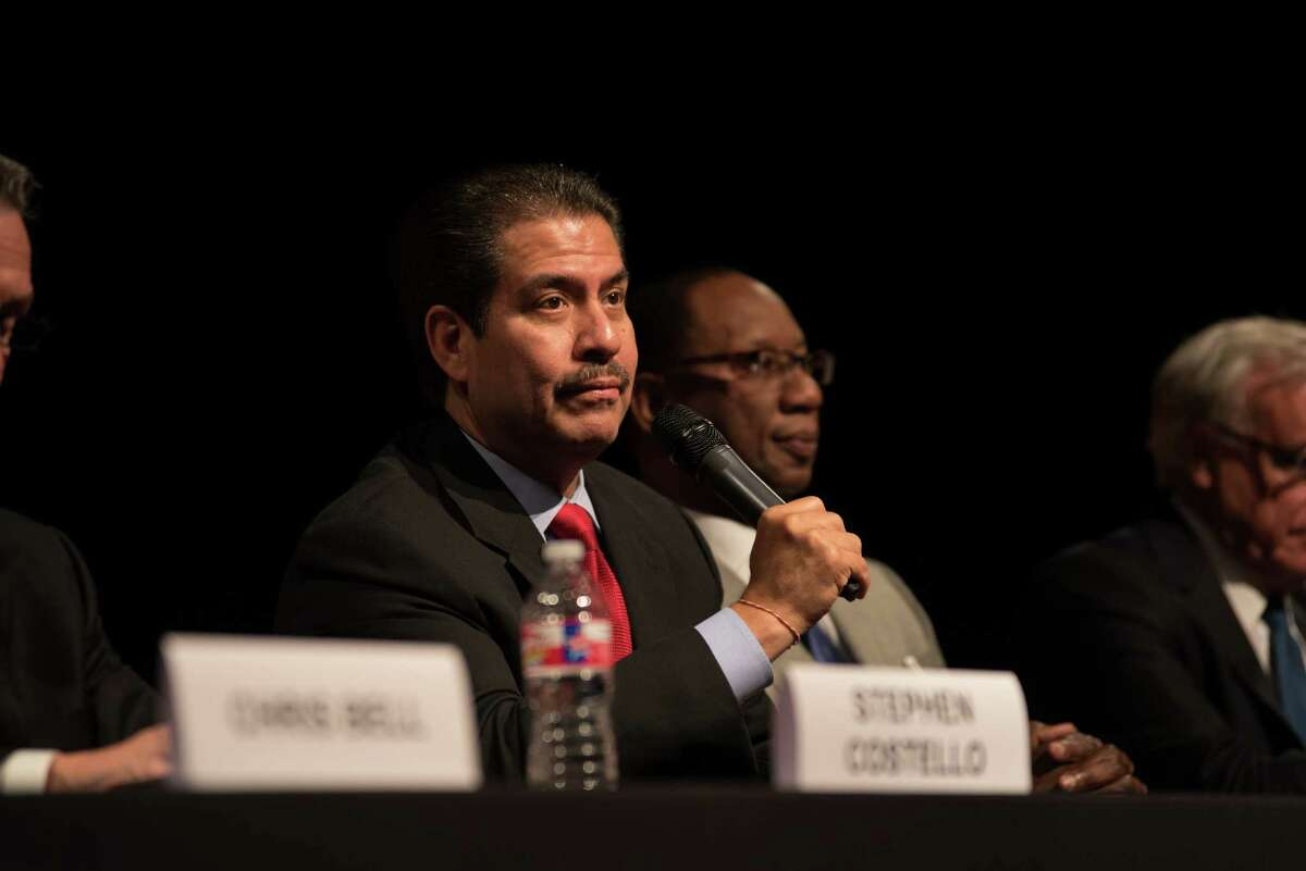 Adrian Garcia speaks this month at a forum. A deputy filed a lawsuit against Garcia last summer over the Harris County Sheriff's Office social media policy.