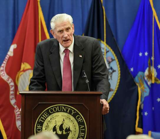 Hank Landau gives his acceptance speech after being honored by Albany County Executive Dan McCoy Thursday morning, June 11, 2015, during the Albany County Veterans Recognition Program at the Albany County building in Albany, N.Y.     (Skip Dickstein/Times Union) Photo: SKIP DICKSTEIN / 10032244A