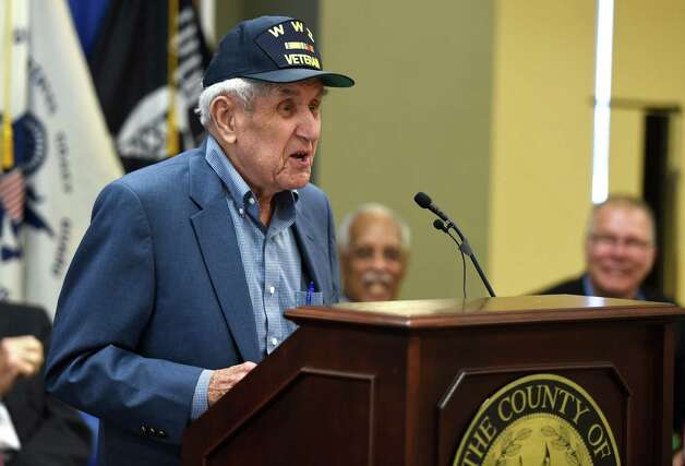 Former Albany County District Attorney Sol Greenberg, 93, gives his acceptance speech after being honored by Albany County Executive Dan McCoy Thursday morning, June 11, 2015, during the Albany County Veterans Recognition Program at the Albany County building in Albany, N.Y.  (Skip Dickstein/Times Union) Photo: SKIP DICKSTEIN / 10032244A