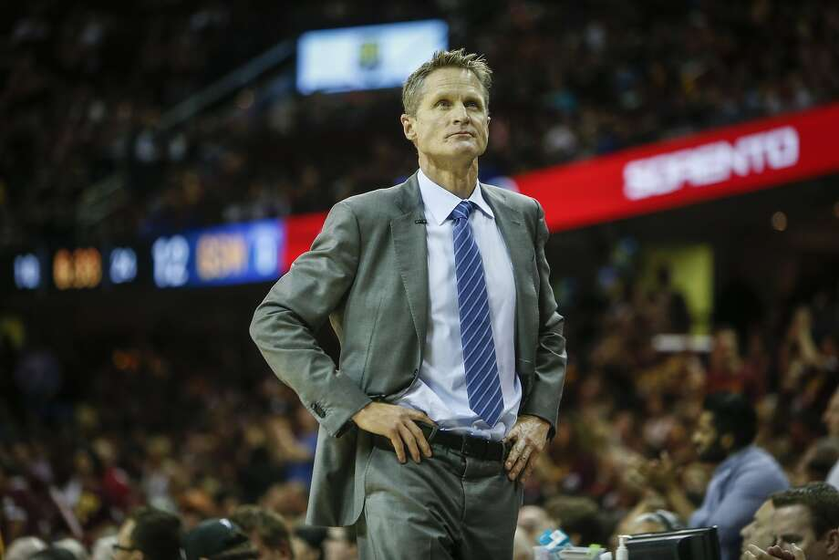 Golden State Warriors' Coach Steve Kerr walks the sideline prior to the start of Game 4 of The NBA Finals between the Golden State Warriors and Cleveland Cavaliers at The Quicken Loans Arena on Thursday, June 11, 2015 in Cleveland, Ohio. Photo: Scott Strazzante, The Chronicle