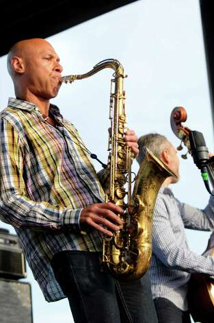 Saxophonist Joshua Redman performs with The Bad Plus during Alive at Five on Thursday, June 11, 2015, at Jennings Landing in Albany, N.Y. (Cindy Schultz / Times Union) Photo: Cindy Schultz / 00032223A