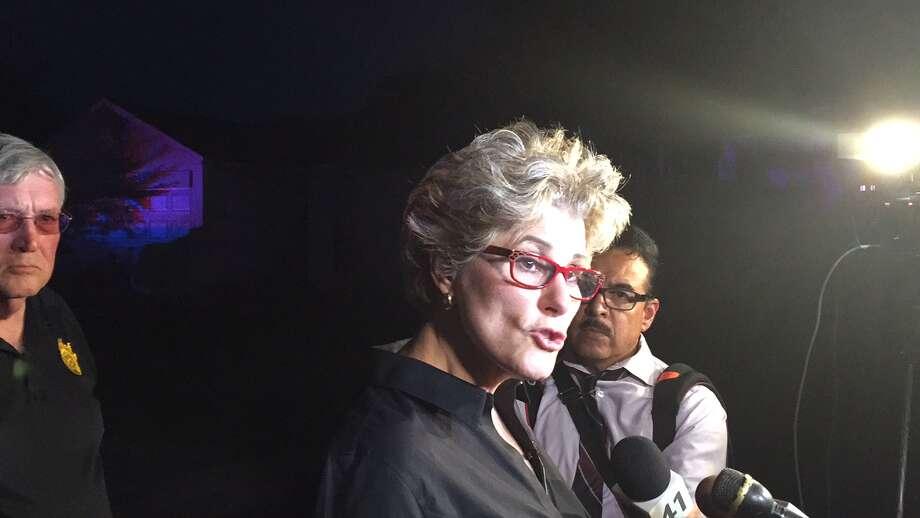 Sheriff Susan Pamerleau speaks at the scene Thursday.