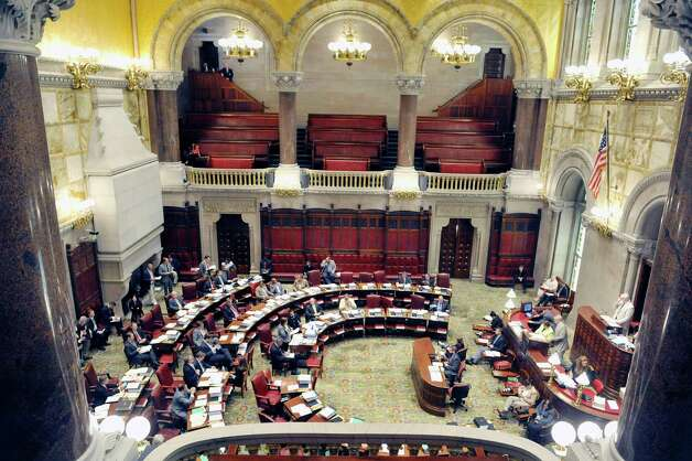 Senators work on the floor of the Senate on Thursday, June 11, 2015, at the Capitol in Albany, N.Y.    (Paul Buckowski / Times Union)
