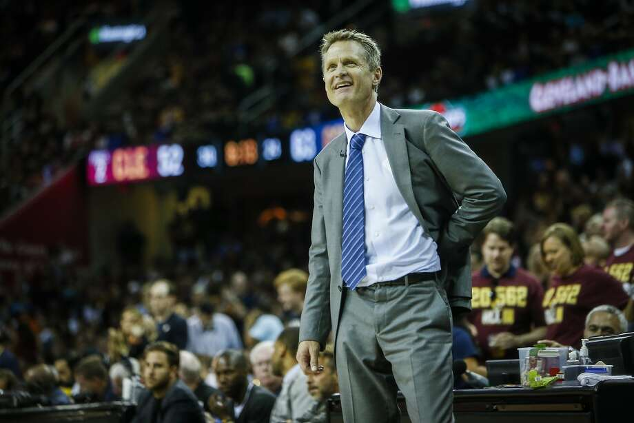 Golden State Warriors' Coach Steve Kerr reacts to a call in the third period during Game 4 of The NBA Finals between the Golden State Warriors and Cleveland Cavaliers at The Quicken Loans Arena on Thursday, June 11, 2015 in Cleveland, Ohio. Photo: Scott Strazzante, The Chronicle