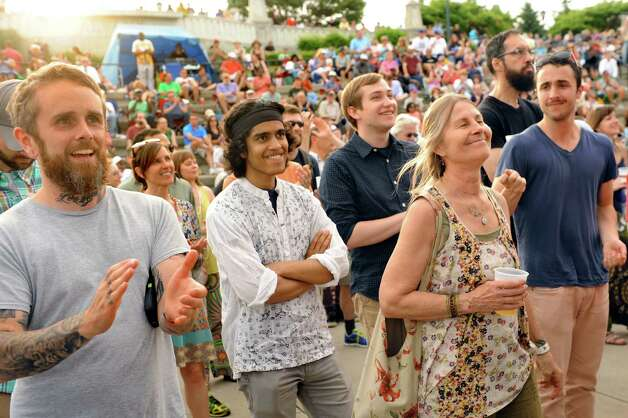 Music lovers show their appreciation as The Bad Plus Joshua Redman performs during Alive at Five on Thursday, June 11, 2015, at Jennings Landing in Albany, N.Y. (Cindy Schultz / Times Union) Photo: Cindy Schultz / 00032223A