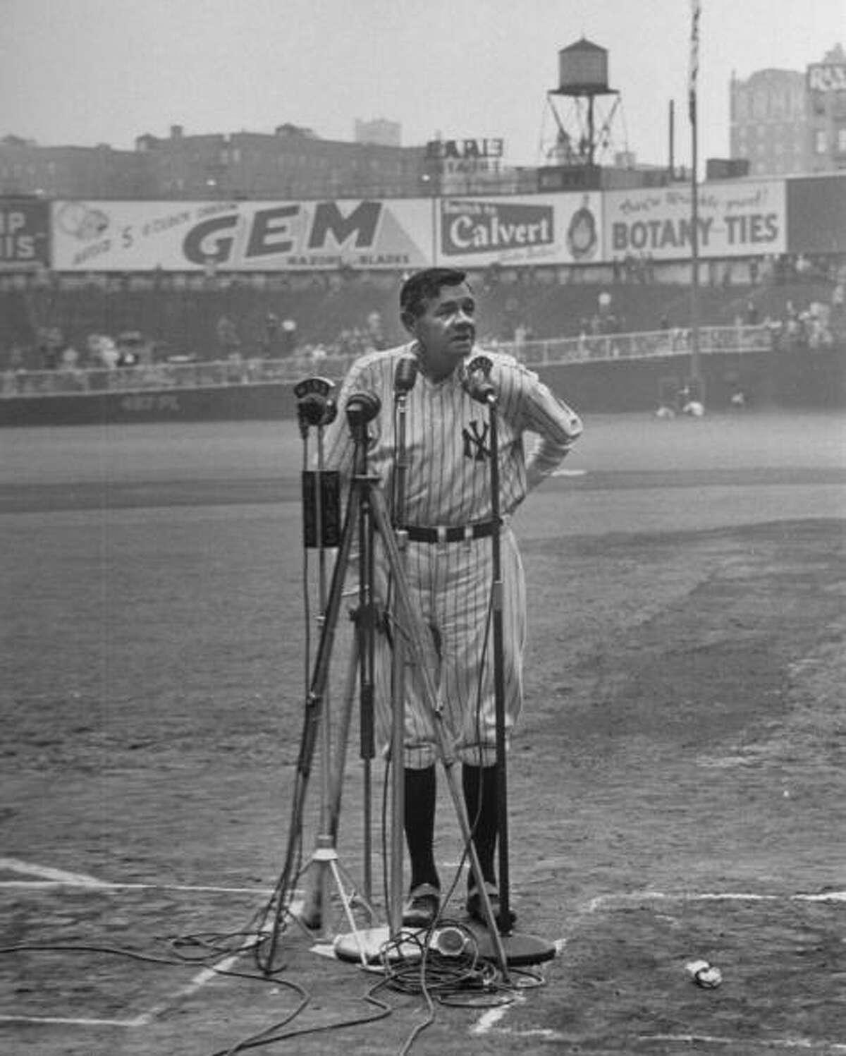 Babe Ruth at New York Yankees' 25th Anniversary.