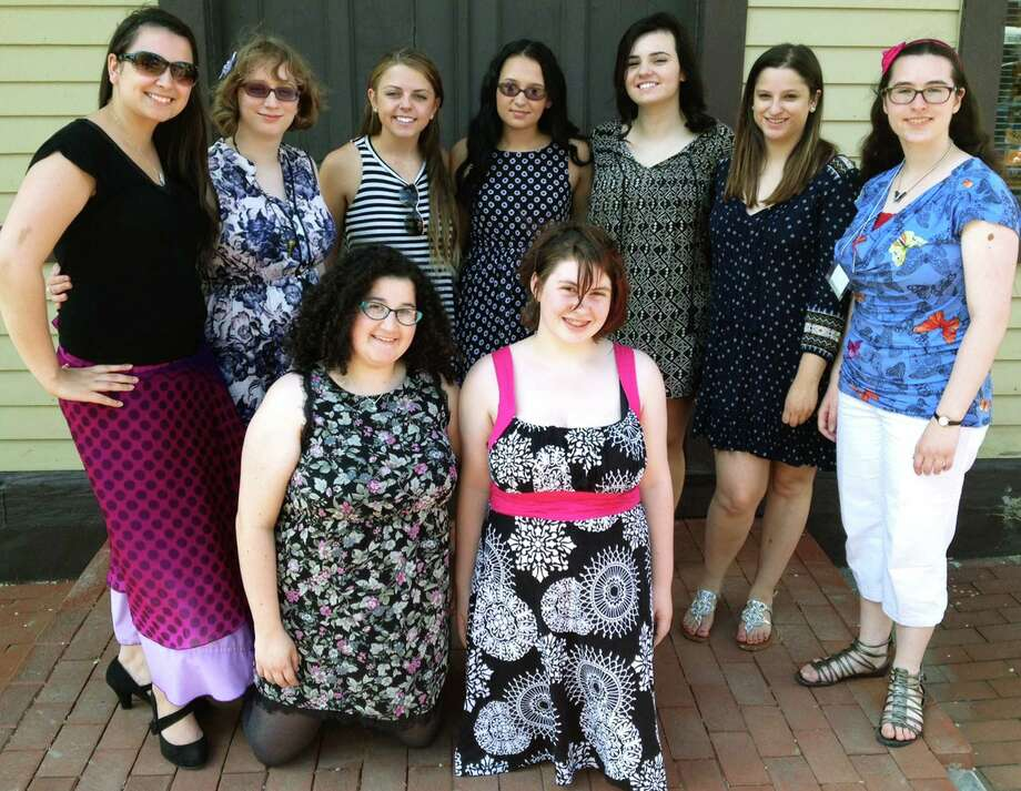 Among the talented teen artists whose creations graced the recent senior art show hosted by New Milford High School at the railroad station were, from left to right, front row, Zoe Kaufman and junior coordinator Barbara Thayer, and, back row, Rachel Harbert, Samantha McMillan, Brianna Paiva, Taylor Terranova, Zoe Miolla, Kayli Sumara and Sylvia Onorato. Absent were Kevin Bun, Meredith Cowan, Thomas Dafonte, Emily Delaney and Ava Westervelt. Photo: Norm Cummings / Norm Cummings / The News-Times