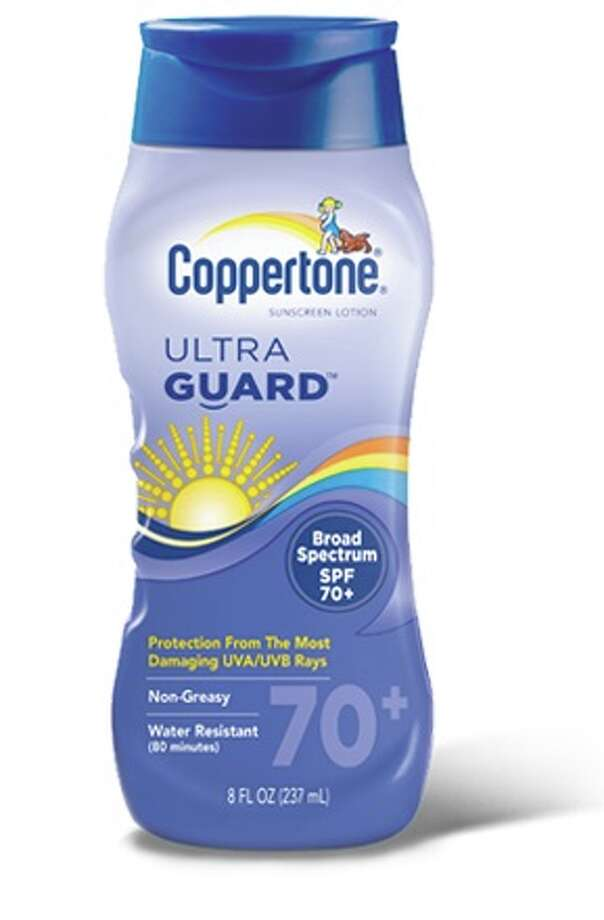 """Consumer Reports named Coppertone UltraGuard SPF 70+, $11, a """"best buy"""" in its July 2015 issue and called it """"the only sunscreen that had a barely noticeable aroma."""" Expert tip: No sunscreen blocks 100 percent of UV rays, and very high SPFs don't offer much more protection than SPFs of 30 or 50. Photo: Courtesy Photo"""