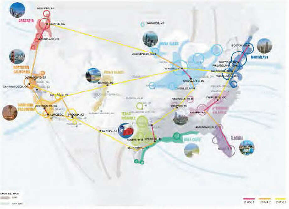 Megaregion networks across the US are shown in this presentation from UCLA A.U.D.'s Suprastudio project on the Hyperloop system. Photo: UCLA Architecture And Urban Design Superstudio