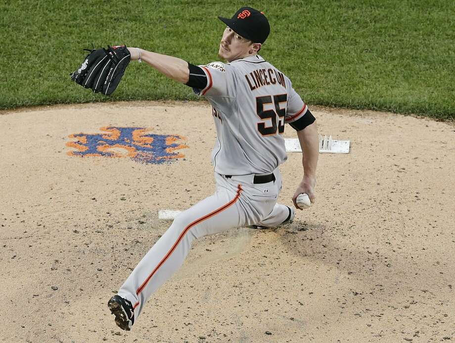 San Francisco Giants' Tim Lincecum winds up during the second inning of a baseball game against the New York Mets on Thursday, June 11, 2015, in New York. (AP Photo/Frank Franklin II) Photo: Frank Franklin II, Associated Press