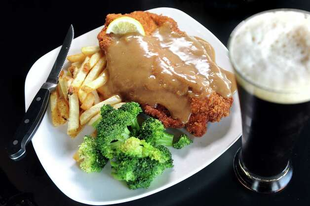 Pork Schnitzel with a glass of Lake Placid Ubu Ale on Friday, June 5, 2015, at BWP in Saratoga Springs, N.Y. (Cindy Schultz / Times Union) Photo: Cindy Schultz / 00032160A