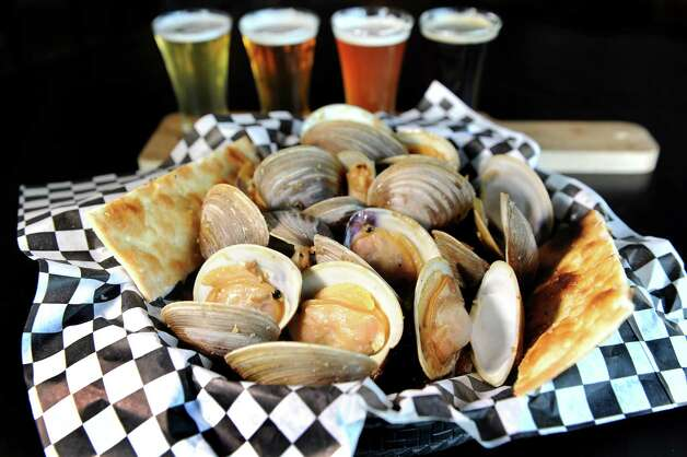 Steamers with a beer flight on Friday, June 5, 2015, at BWP in Saratoga Springs, N.Y. (Cindy Schultz / Times Union) Photo: Cindy Schultz / 00032160A