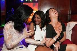 Carlie Hammell, Nadine Oluwole and Dana Ngo at the Clift hotel's centennial birthday celebration on June 4, 2015