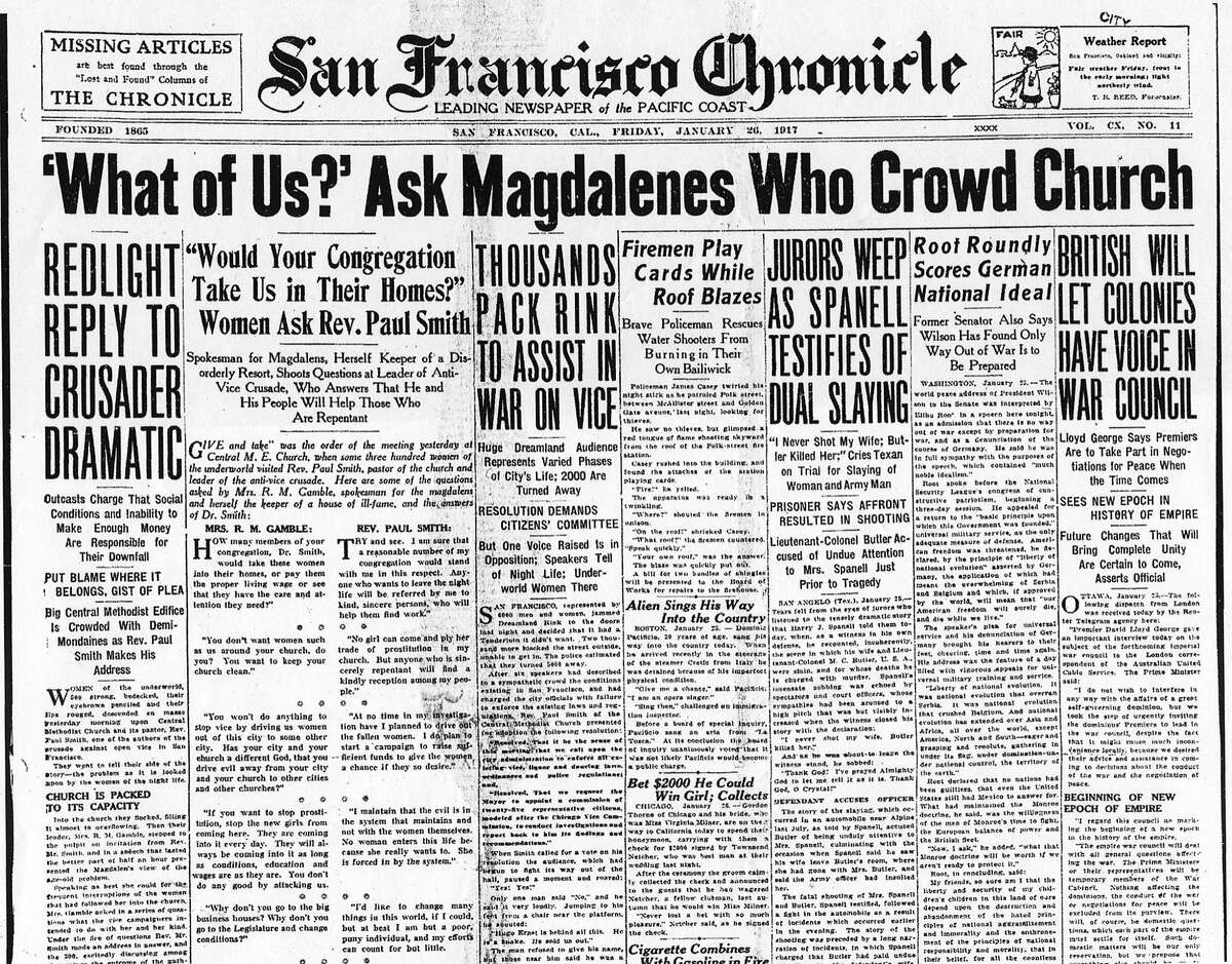 Chronicle front page, January 26, 1917 headline refers to confrontation between San Francisco prostitutes and the Rev. Paul Smith of the Central Methodist Church.