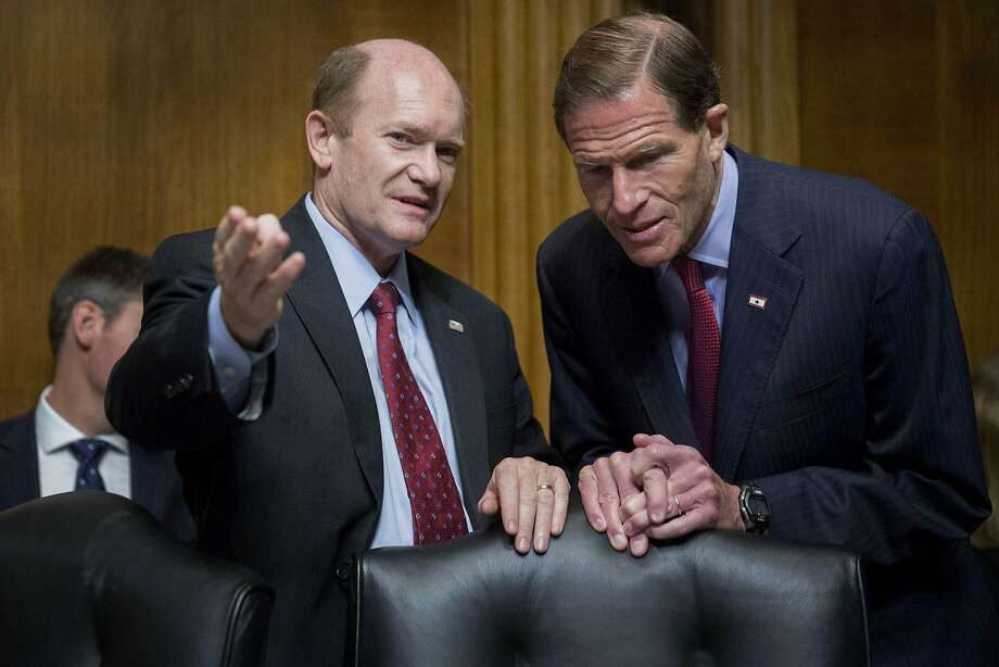Sens. Chris Coons (left) and Sen. Richard Blumenthal have fought for data security. Photo: Andrew Harrer, Bloomberg