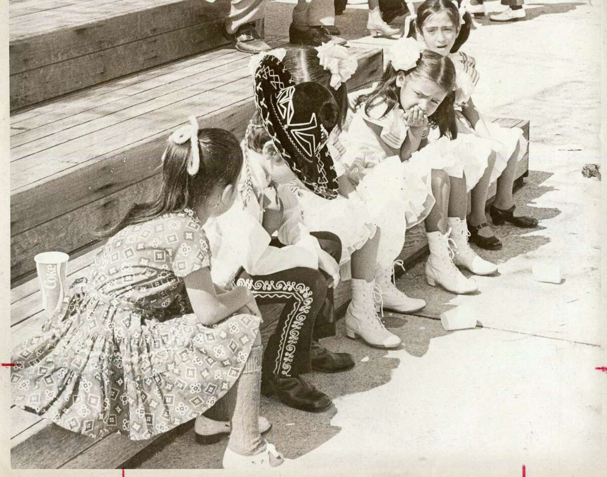 Young members of Ballet Folklorico chat about their stage fright before performing at the Texas Folklife Festival in 1973.