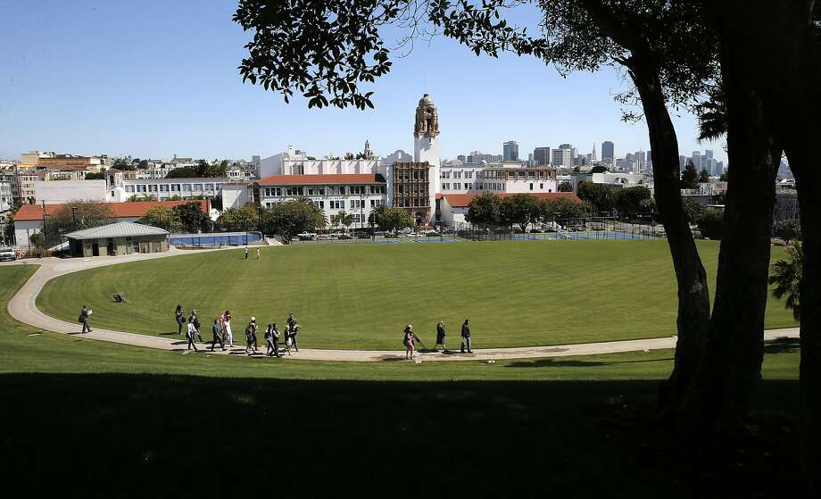 A view from up the hill as San Francisco Recreation and Parks department nears completion of the Northern part of Dolores Park in San Francisco, Calif., as seen on Fri. June 12, 2015. Photo: Michael Macor, The Chronicle