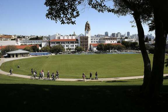 A view from up the hill as San Francisco Recreation and Parks department nears completion of the Northern part of Dolores Park in San Francisco, Calif., as seen on Fri. June 12, 2015.