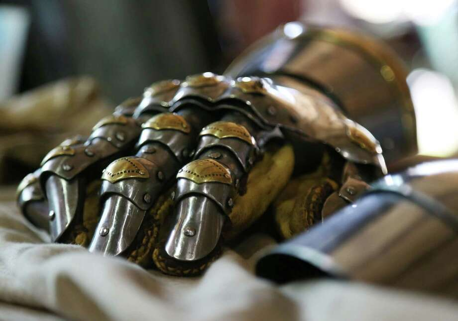 A gauntlet rests on a table at the International Jousting Tournament at the Great Southwest Equestrian Center Friday, June 12, 2015, in Houston. Photo: Jon Shapley, Houston Chronicle / © 2015 Houston Chronicle