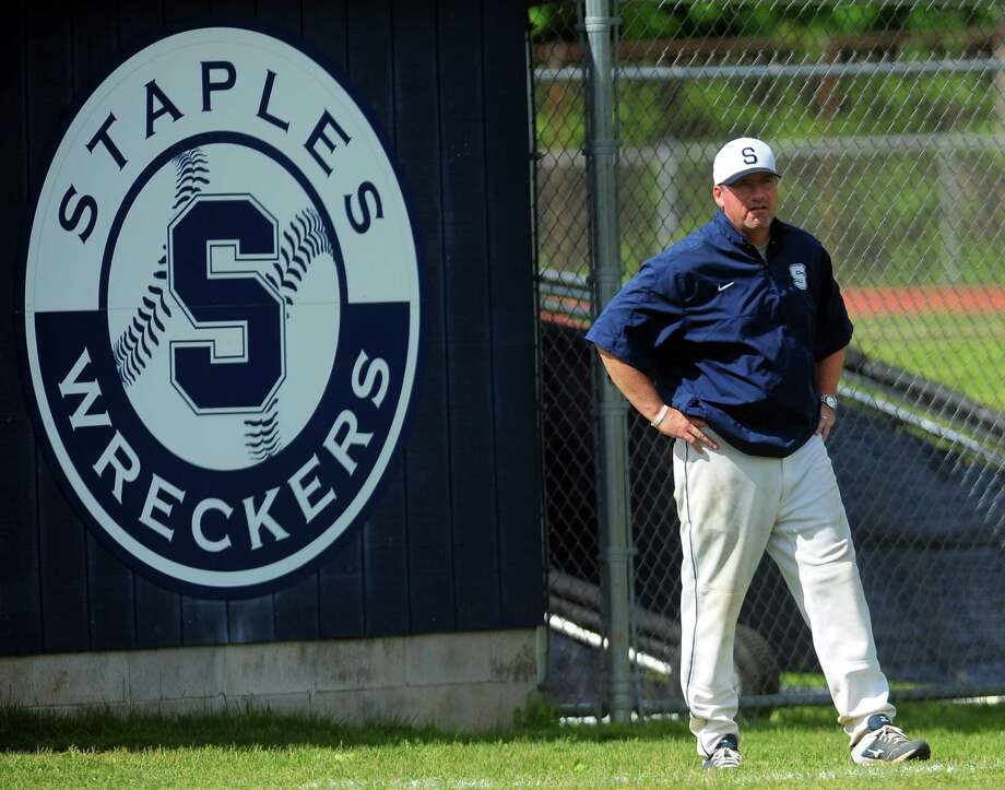 Class LL baseball quarterfinals action between Greenwich and Staples  in Westport, Conn., on Friday June 5, 2015. Staples Head Coach Jack McFarland. Photo: Christian Abraham / Staff Photographer / Connecticut Post