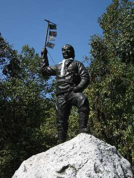 Statue of Tenzing Norgay over his cremated remains in the Himalayas