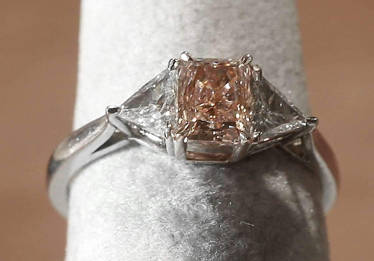 A J.E. Caldwell natural fancy purplish pink diamond ring priced at $237,500 dollars displayed at the estate jeweler 66 mint in San Francisco, California, on Thursday, June 11, 2015. A family run business which spans four generations, they just opened a sell center in Silicon Valley this month.