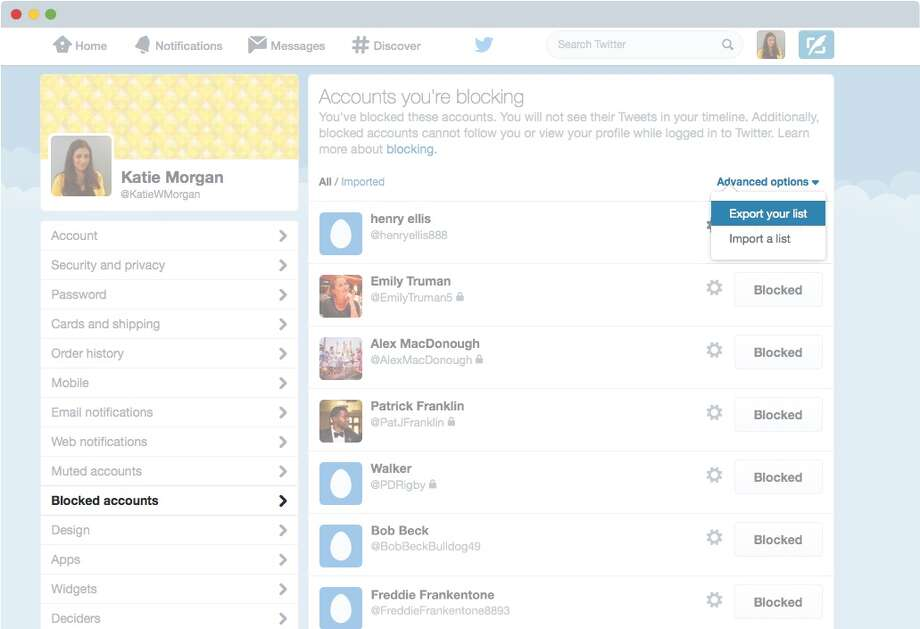 Screenshot of a Twitter account showing how to export a list of blocked accounts. Twitter now lets users share block lists. Photo: Courtesy Twitter