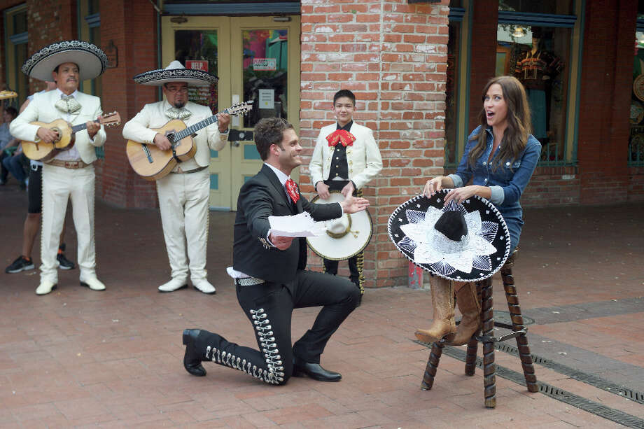 """After young mariachi superstar Sebastien De La Cruz coaches the bachelors, the nervous men try their hand at writing their own songs and performing them for Kaitlyn Bristowe in the San Antonio episode of  ABC's 'The Bachelorette.'  June, 2015 THE BACHELORETTE - """"Episode 1105"""" - Ten men are treated to a visit by Sebastian De La Cruz, a delightful 13-year-old Mariachi superstar, and his band El Charro De Oro. A bunch of nervous bachelors try their hand at writing their own Mariachi songs and performing them in front of a cheering crowd. One man's badly sung love ballad captures Kaitlyn's heart. But the after party mood is soured when the bachelors continue to harass her about why Nick is still there, on """"The Bachelorette,"""" MONDAY, JUNE 15 (8:00-10:01 p.m., ET), on the ABC Television Network. (ABC/Felicia Graham) EL CHARRO DE ORO, JOE, SEBASTIAN DE LA CRUZ, KAITLYN BRISTOWE Photo: ABC/Felicia Graham,  ABC / ABC / © 2015 American Broadcasting Companies, Inc. All rights reserved."""