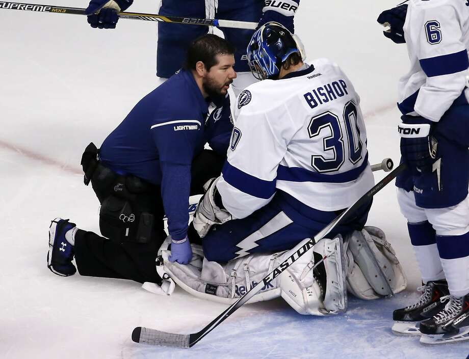 Tampa Bay goalie Ben Bishop has been battling a lower-body injury in the Stanley Cup Finals. Photo: Charles Rex Arbogast, Associated Press