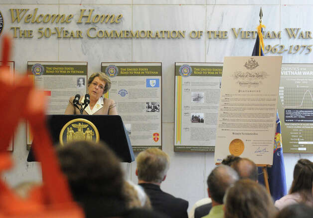 Bronze Star recipient and Vietnam War Veteran Joan Furey speaks during a recognition of New York Stateís women veterans and unveiling of art and artifacts in the New York State Vietnam Memorial Gallery that illustrate women veteransí contributions during the Vietnam War at the Empire State Plaza on Friday June 12, 2015 in Albany , N.Y.  (Michael P. Farrell/Times Union) Photo: Michael P. Farrell, Albany Times Union / 00032270A