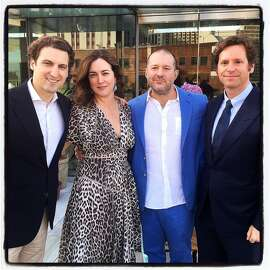 Krug Champagne US Director Vincent Pages (at left) with Alexis Traina, Apple Design Chief Jony Ive and ifonly.com host Trevor Traina at The Battery. June 2015. By Catherine Bigelow.