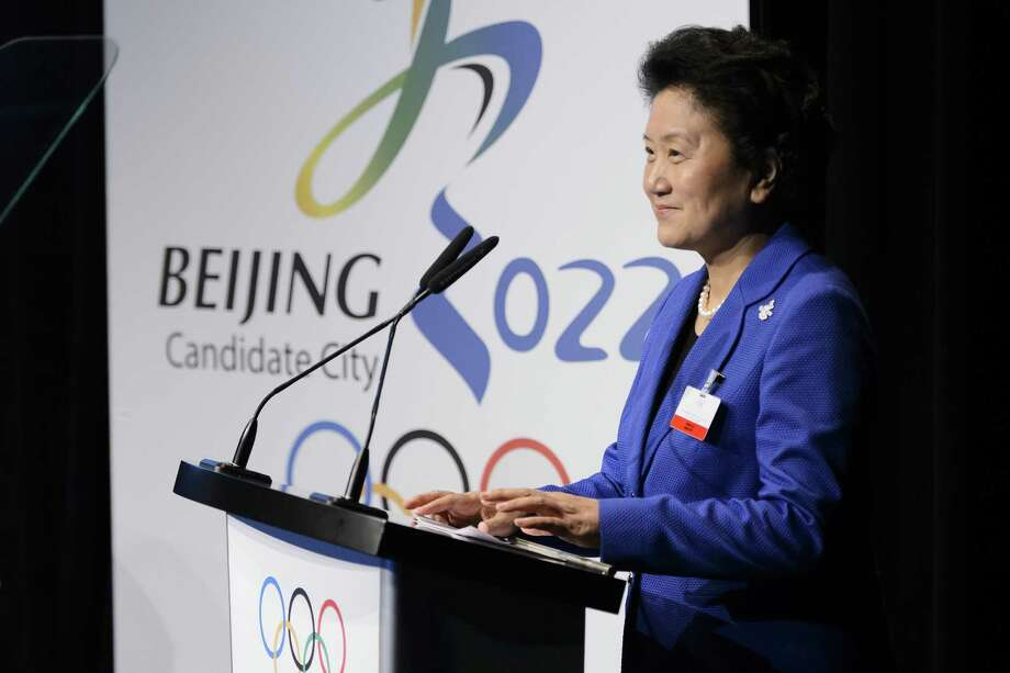 Chinese Vice Premier Liu Yandong, seen here speaking last week before the International Olympic Committee. Photo: FABRICE COFFRINI, Staff / AFP