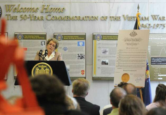 Bronze Star recipient and Vietnam War Veteran Joan Furey speaks during a recognition of New York State's women veterans and unveiling of art and artifacts in the New York State Vietnam Memorial Gallery that illustrate women veterans' contributions during the Vietnam War at the Empire State Plaza on Friday June 12, 2015 in Albany , N.Y.  (Michael P. Farrell/Times Union) Photo: Michael P. Farrell / 00032270A