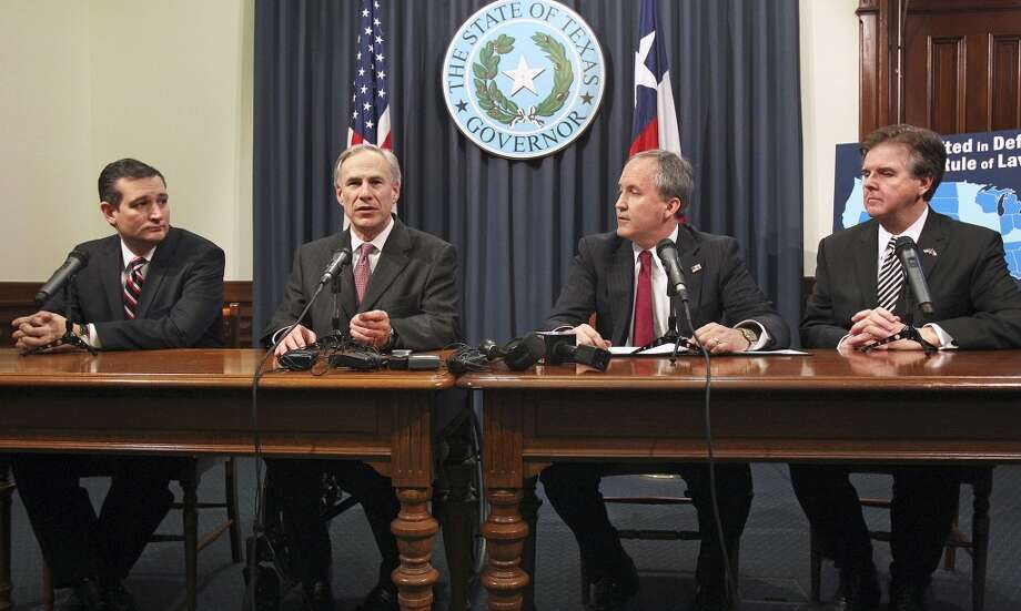 Sen. Ted Cruz, Gov. Greg Abbott, Attorney General Ken Paxton and Lt. Gov. Dan Patrick. Photo: Tom Reel, San Antonio Express-News