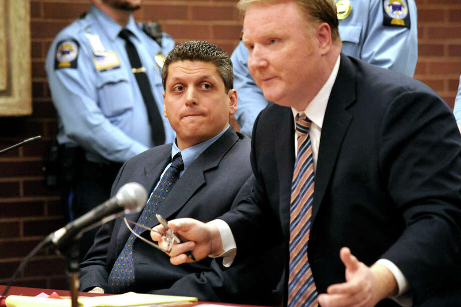 Marash Gojcaj listens to his attorney, Stephan Seeger in this file photo. Photo: Michael Duffy / ST / The News-Times