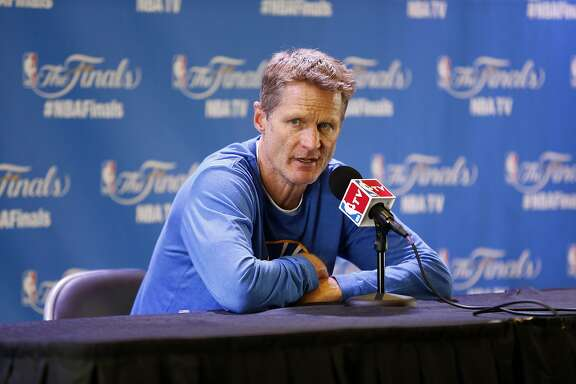 Golden State Warriors head coach Steve Kerr answers questions following  practice on Saturday, June 13, 2015 in Oakland, Calif.