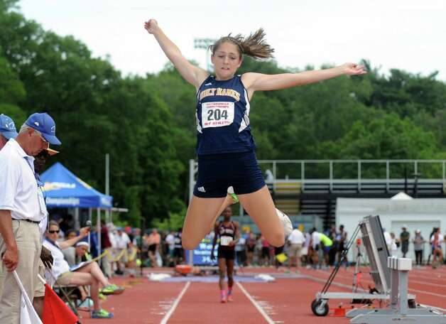 Leah Moran of Holy Names competes in the long jump during the New York State High School Track and Field Championships at UAlbany on Saturday June 13, 2015 in Albany , N.Y.  (Michael P. Farrell/Times Union) Photo: Michael P. Farrell / 10032256B